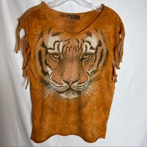 3D TEES BY THE MOUNTAIN TIGER FRINGE TSHIRT